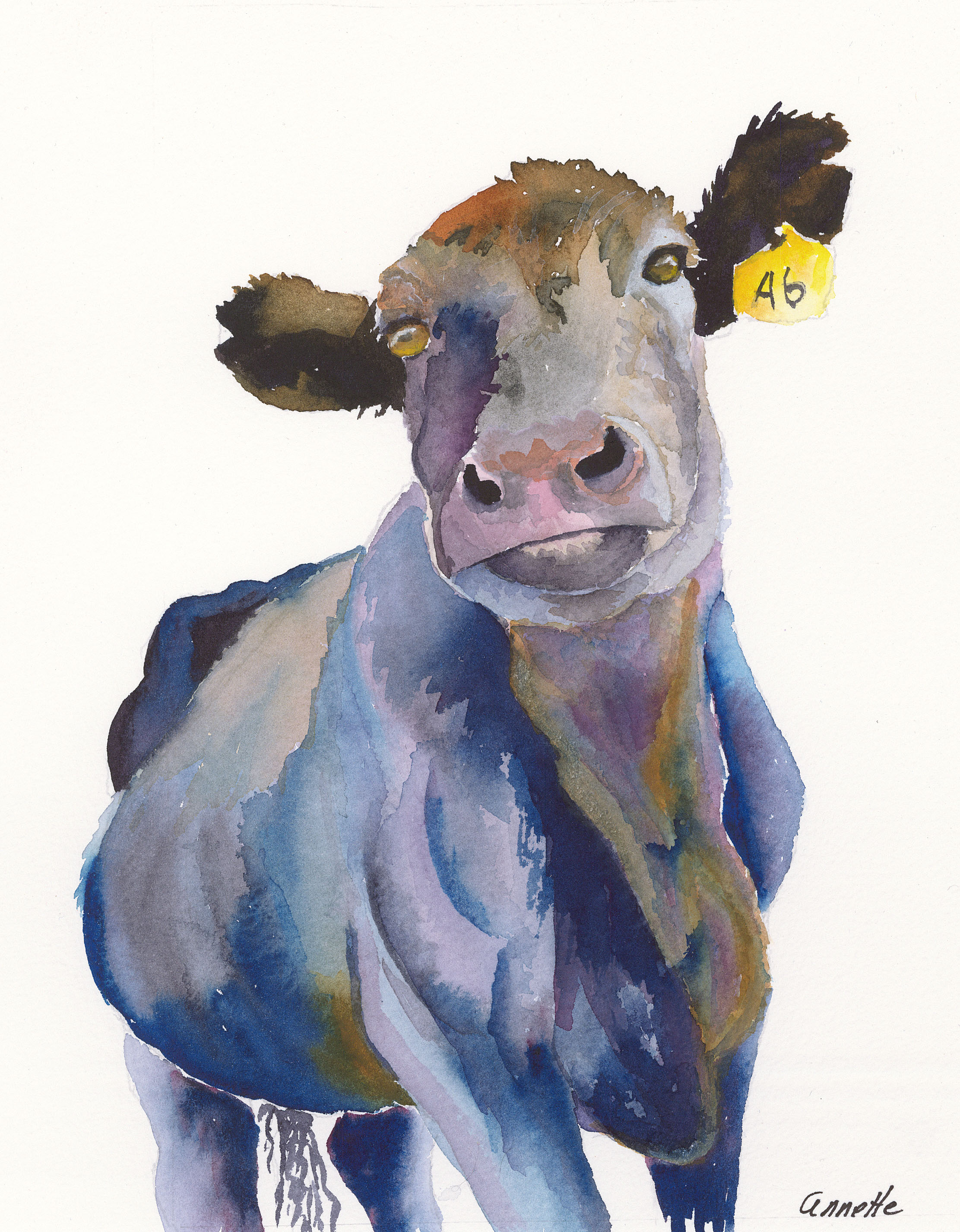 And then there were angus annette bennett watercolor art for Cow painting print