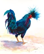 rooster wtaercolor painting print giclee canvas original by annette bennett blackie 1 (1)