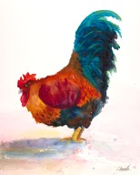 rooster wtaercolor painting print giclee canvas original by annette bennett goldie 1 (2)