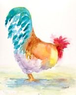 rooster wtaercolor painting print giclee canvas original by annette bennett goldie 2 (3)