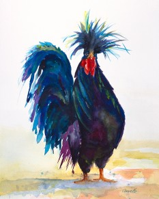 rooster chicken black and blue original watercolor painting print canvas by annette bennett