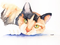 calico-cat-kitten-original-watercolor-by-annette-bennett