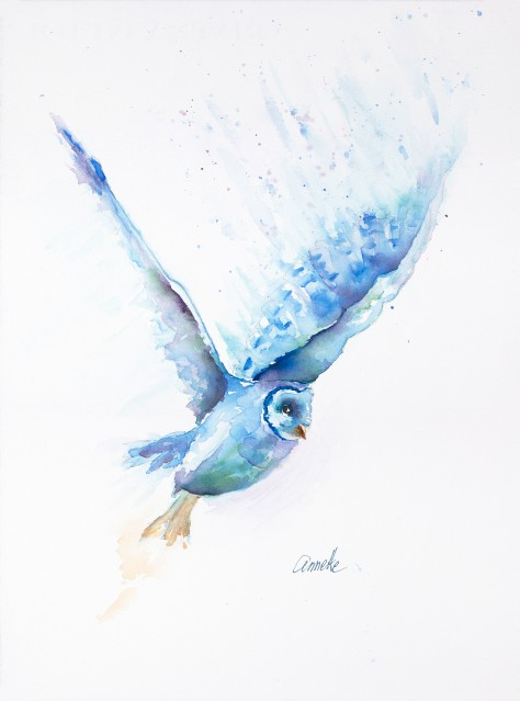 barn owl in flight original watercolor painting by annette bennett
