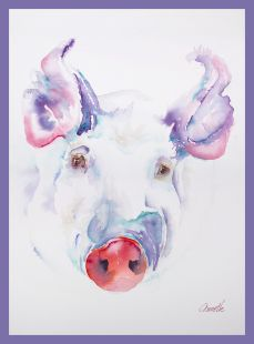 fancy pig original watercolor by annette bennett border